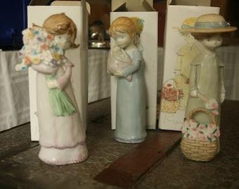 SPRING CLEANING - Vintage Kinka Porcelain Girl Dolls / Figurines, Set of Three in the Box, Pastels, Large Doll Figures, Girl, Bedroom