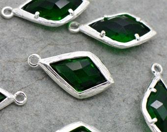 Diamond Jewel Charms EMERALD Faceted Glass Sterling Silver Plated Setting Drop Gem Jewels 20mm Diamond Bezel Stone (AX069)