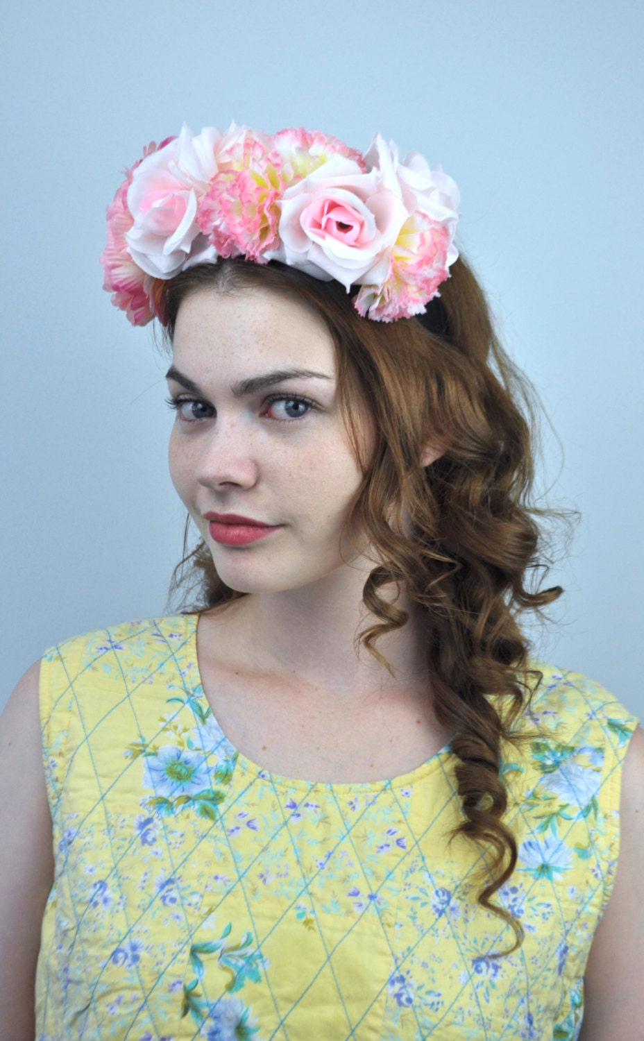Sale Isla Pastel Pink Silk Flower Crown Pink Flower Headband