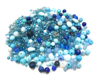 VINTAGE: Mixed Blue Glass Beds - Blue Beads - Jewelry Beads - Crafts - SKU 4-A4-00004635