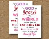 "John 3:16 Printable Valentine's Day Card | DIY PRINTABLE | ""For God So Loved the World"" | Scripture Valentine | Pink & Red |Instant Download"