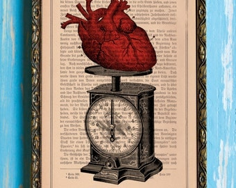Weights and Measures of a Heart Original Collage Print on an Antique Upcycled Bookpage