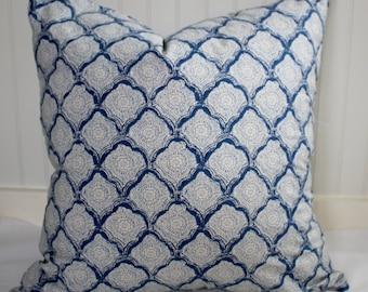 Blue and Ivory Geometric Pillow Covers in Kravet Kashmira Indigo