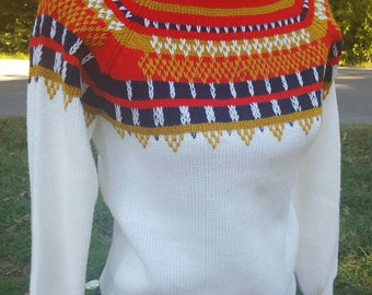 Vintage Ski Sweater Towncraft Nordic Lodge Jumper White Blue Red Gold Winter Fashion Cozy