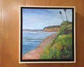 """Beach oil painting, 12"""" x 12"""" in natural wood floater frame 2"""" deep,free shipping within the U.S."""