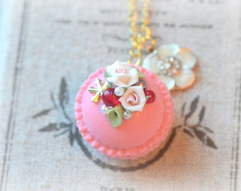 Macaron jewelry, rose macaroon necklace, handmade whimsical jewelry, lolita accessories, white roses, flower pendant, gift under 20