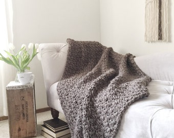 Chunky Knit Crochet Throw Afghan The Original BIRCH Blanket Barley