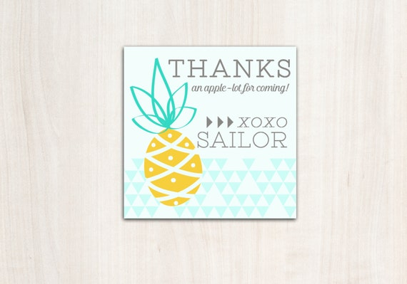 PINEAPPLE  Favor Tags - Pineapple Pool Party - Party Supplies
