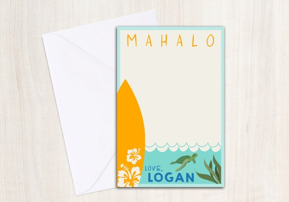 Luau Surf Thank You Note for boys - Pool party thank you- Surf Party - Beach Party - party supplies