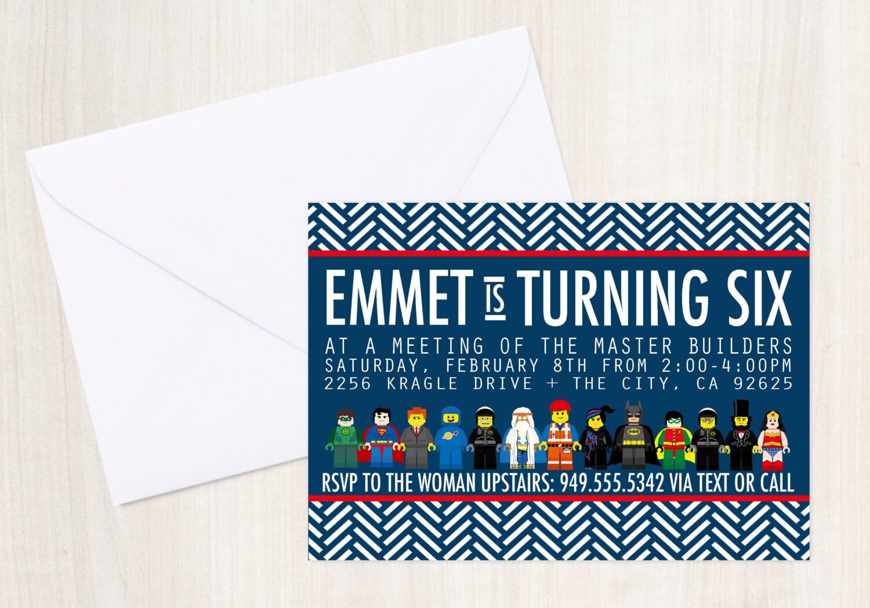The Movie Invite - Emmet Invitation - Movie Invitation - Party Supplies