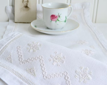 "White Hardanger table runner, vintage Swedish white on white embroidery , 10 "" x 20 """