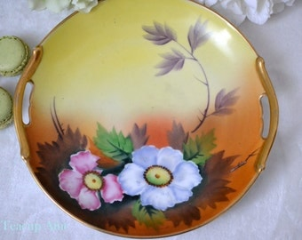 Meito China Hand Painted Double Handled Floral Plate, Japanese Porcelain Plate, ca.