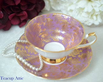 Elizabethan Wide Purple And Gold Teacup and Saucer, English Bone China Tea Cup Set, Wedding Gift, ca 1960