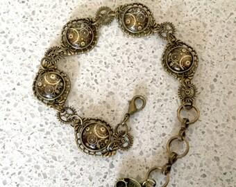 Steampunk Clockwork Gears Link Bracelet