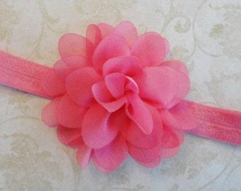Baby Headband, Hot Pink Chiffon Flower Headband, Infant Headband, Newborn Headband, Girls Headband, Bow Headband