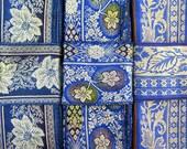 Blue and Silver Silk Sari borders, Silk Fabric SR385