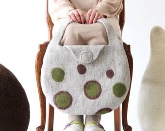 Natural beige handbag - felted tote bag with green brown bubbles - women handbag