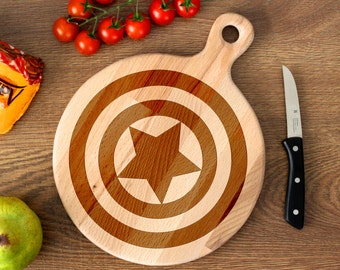 Comic Superhero cutting board -  Captain America Wooden Cutting Board Laser Engraved - Personalized Engraved Cutting Board