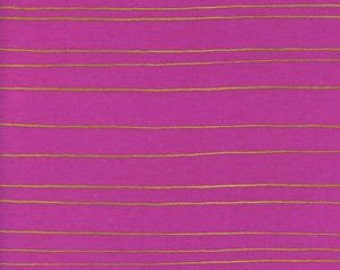 Fruit Dots - Gold Stripe in Orchid Metallic - 0031-2 - Melody Miller for Cotton + Steel - HALF YARD