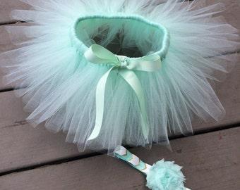 Newborn Mint green tutu and headband new baby gift newborn mint tutu skirt