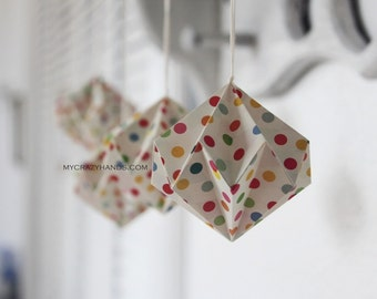 12 origami diamond || 2 1/2'' origami kusudama | origami ball || party decors | paper diamond ball -rainbow dots