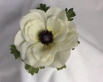White silk Poppy flower brooch - in decorated gift box.