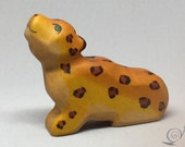 Toy Jaguar Baby wooden colurful orange dots lying Size  7,0 x 6,0 x 2,2 cm (bxhxs)  approx. 29 gr.