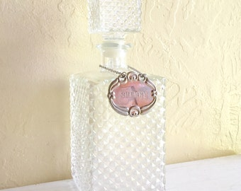 Beautiful Vintage Glass Liquor Decanter Alcohol Bottle with Stopper Sherry Metal Tag