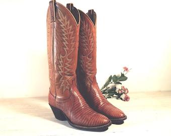 Vintage Cowboy Boots, Dan Post Tall Caramel Tan Lizard Skin & All Leather, Women's size 5