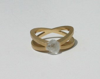 Natural Untreated 1.86 Carat Rough Diamond Engagement Ring Solid 18kt Yellow Gold ~ Gem Quality