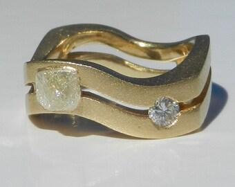 Natural Untreated Men's 1.12 Carat Rough Diamond & Diamond Wedding Ring Solid 18kt White Gold ~ Gem Quality