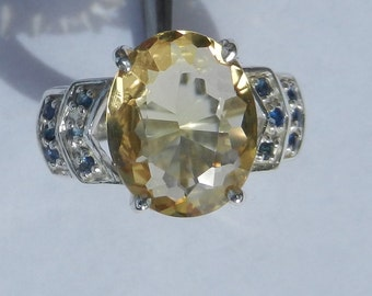 Natural 4.60 Carat Citrine & Sapphire Ring set in Solid 925 Sterling Silver