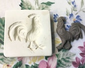 Clay Sprig Chicken Rooster Pottery Press Mold Relief Mold or Sprig Mold Bisque Clay Stamp for Ceramic Decoration and Texture White
