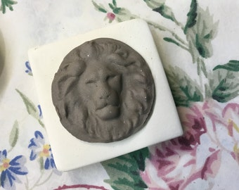 Clay Stamp Lion Leo Pottery Press Mold Relief Mold or Sprig Mold Bisque Clay Stamp for Ceramic Decoration and Texture