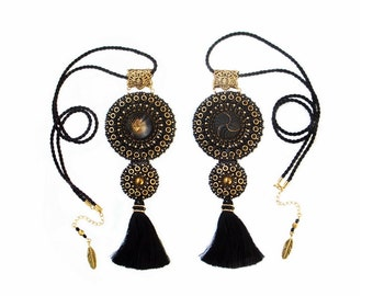 Big statement necklace pendant - elegant, shiny black & gold, Bead Embroidery - REFLECTION OF UNIVERSE