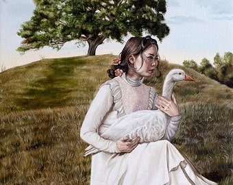 Limited Edition Girl with White Goose by Countryside Hill A3 Art Print