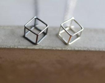 Tiny cube necklace, simple necklace, minimalist, modern geometric jewelry