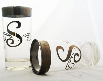 Glasses - Set of Letter S silver filigree tall vintage wedding engagement present