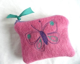 Pink wool purse - embroidered wool mini purse - hand dyed wool purse -  free embroidered coin purse - hand dyed wool pouch