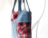 Denim Purse, Denim Bag, Western Bag, Country Purse, Shoulder Bag, Tote, Denim and Flanel, UPCYCLED Recycled Repurposed Denim Bag Again