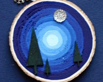 Pine trees and moon holiday, ornament, birch wood slice, art on wood, acrylic painting on wood, night sky, full moon, blue, round art