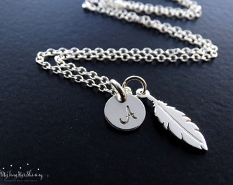 Feather Necklace Silver Initial Necklace Feather Sterling Silver Necklace Feather Charm Initial necklace Personalized Jewelry