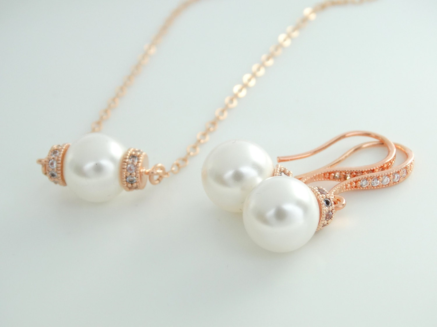 Swarovski Pearl Simple Pearl Earrings And Necklace Bridesmaid Gift Rose  Gold Earrings And Necklace Set Pink Pearl Earrings Bridal Jewelry