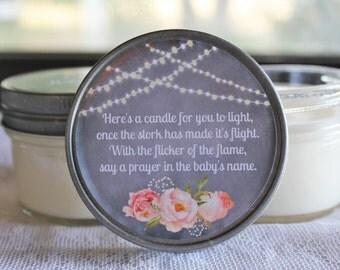 Amazing Set Of 12   4 Oz Baby Shower Favor Candle//Baby Shower Poem Favor