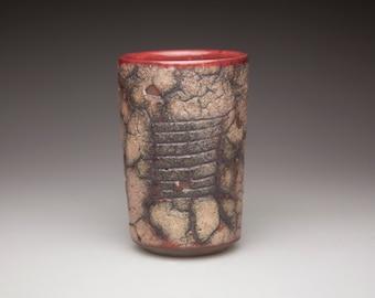 cracked textured pottery ceramic  tumbler