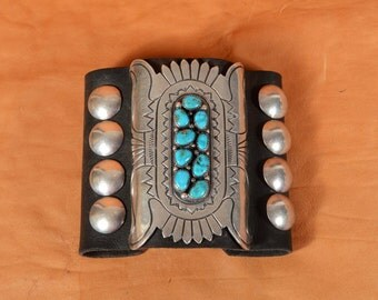 Vintage Silver Turquoise Navajo Bow Guard/Black Leather Stamped Silver 9 Stones /Ceremonial Native American Bracelet 169.9 Grams