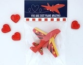 Airplane Valentine, Jet Plane Kids Classroom Valentines Treat Toppers and Valentine's Card - INSTANT DOWNLOAD