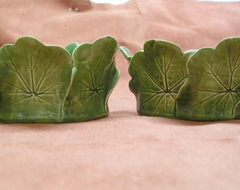 Vintage Hand Made Leaf Candle Stick Holders by Pat Young 1960's