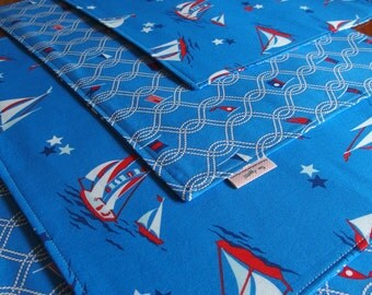 Sailboat Placemats with Nautical Sailing Flags, Blue, Red, Summer, Reversible, Table Mat, Anna Griffin Blend Seafarer Maritime Breakwater