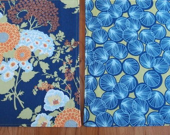 Blue and Olive Placemats with Flowers and Lily Pads, 4, 6 or 8, Joel Dewberry Botanique Bold Bouquet, Asian Placemats, Japanese Placemats